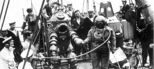 Jim Jarrett in the Tritonia diving suit during the Expedition to the wreck of the RMS Lusitania in 1935
